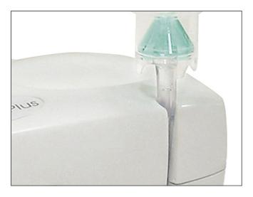 Posibilidad de fijar el tubo en el nebulizador.